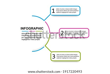 Timeline 3 point banner elements and numbers. Semicircle presentation business infographic template with three options. Business concept with 3 steps. Process diagram, workflow layout, info graph, web