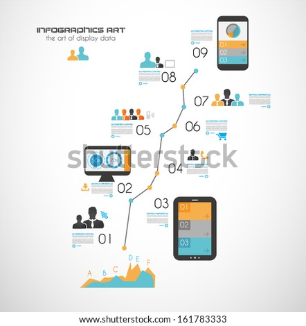 Timeline to display your data in order with Infographic elements technology icons graphs world map and so on Ideal for statistic data display
