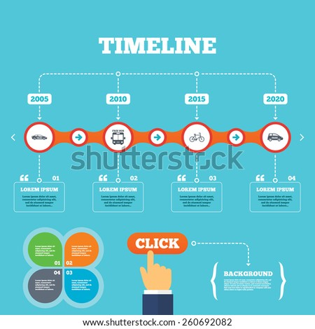 Timeline with arrows and quotes. Public transport icons. Free bus, bicycle and taxi signs. Car transport symbol. Four options steps. Click hand. Vector