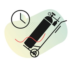 Timely Supply of Medical Oxygen Cylinder - Stock Icon as EPS 10 File