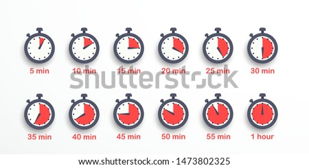 Timer, clock, stopwatch isolated set icons. Label cooking time. Vector illustration. EPS 10