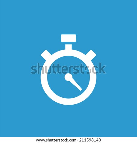 timer icon, isolated, white on the blue background. Exclusive Symbols