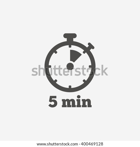 Timer icon. 5 minutes stopwatch symbol. Flat icon on white background. Vector