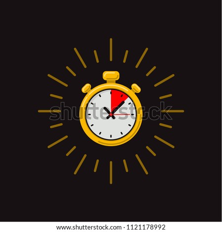 Timer icon on dark background. Fast time. Fast delivery, express and urgent shipping, services, stop watch speed concept, deadline, delay. chronometer sign. vector illustration