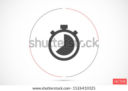 Timer icon vector. Waiting, Timer icon vector and Clock concept. Sign isolated on white background Timer icon vector. 5 minutes stopwatch symbol. Timer  vector