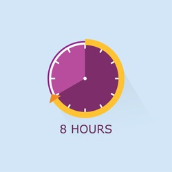 Timer icon with arrow vector illustration on light blue background. 8 hours.