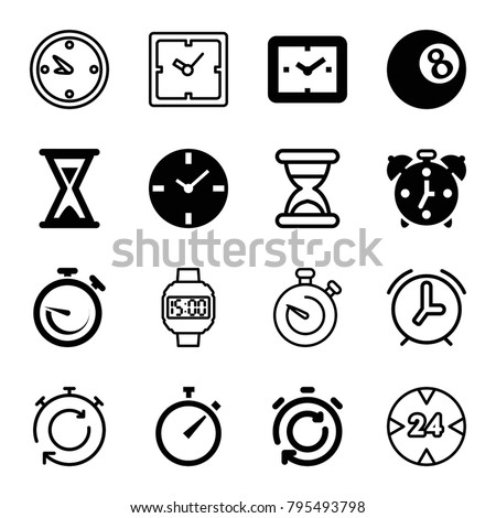 Timer icons. set of 16 editable filled and outline timer icons such as clock, hourglass, alarm, stopwatch, wrist dial watch