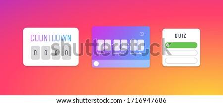 Timer icons template. Social media elements layout. Quiz sticker layout. Social media Instagram concept. Vector illustration. EPS 10 Foto stock ©
