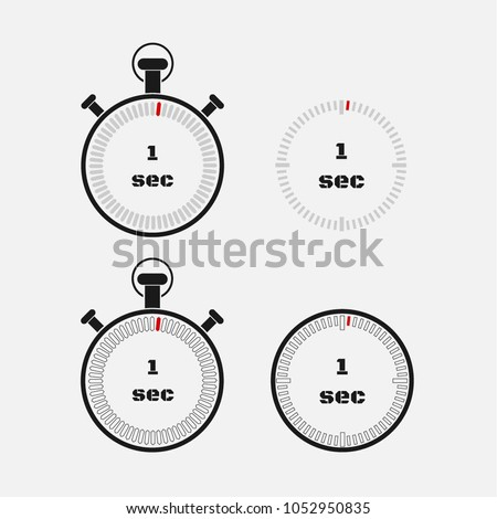 Timer 1 second on gray background . Stopwatch icon set. Timer icon. Time check. Seconds timer, seconds counter. Timing device.  Four options. EPS 10 vector.
