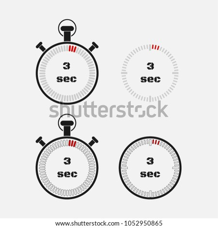 Timer 3 seconds on gray background . Stopwatch icon set. Timer icon. Time check. Seconds timer, seconds counter. Timing device.  Four options. EPS 10 vector.