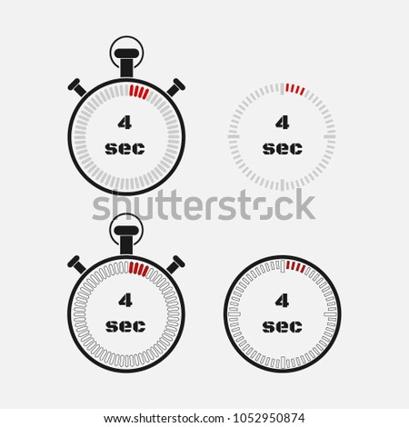 Timer 4 seconds on gray background . Stopwatch icon set. Timer icon. Time check. Seconds timer, seconds counter. Timing device.  Four options. EPS 10 vector.