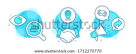 Timer, Share and Methodology line icons set. Handshake deal, research and promotion complex icons. Refresh mail sign. Location pointer, Link, Development process. New e-mail. Technology set. Vector