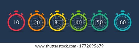 Timer. Stopwatch. Countdown 10.20,30,40,50,60 minutes. Vector icons