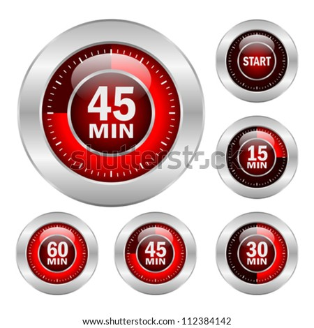 Timer vector icons set, eps10 illustration