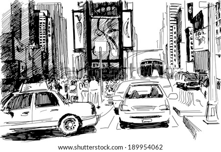 Times Square in New York city in a sketchy contrast style: artistic inc-pencil drawing in vector