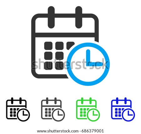 Timetable flat vector icon. Colored timetable gray, black, blue, green icon versions. Flat icon style for application design.