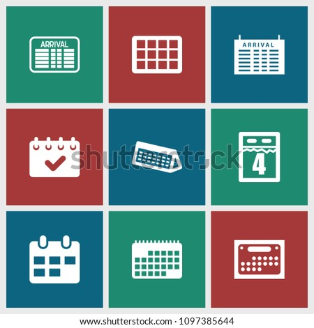Timetable icon. collection of 9 timetable filled icons such as arrival table, calendar. editable timetable icons for web and mobile.