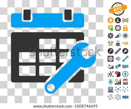 Timetable Options icon with bonus bitcoin mining and blockchain icons. Vector illustration style is flat iconic symbols. Designed for crypto-currency apps.