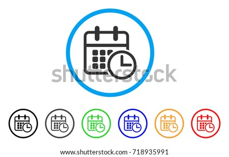 Timetable rounded icon. Style is a flat timetable grey symbol inside light blue circle with black, gray, green, blue, red, orange versions. Vector designed for web and software interfaces.