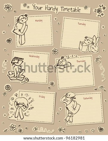 Timetable with cute decorated elements