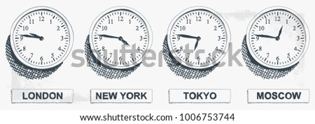 Timezone Business Clock Hand Drawn  Illustration. Clocks showing the time around the world.