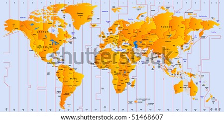 Timezone map - vector color illustration