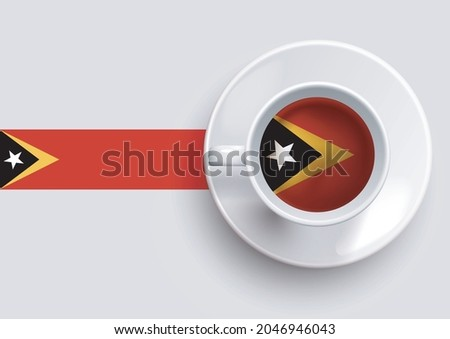 Timor-Leste flag with a tasty coffee cup on top view and a gradient background. Hot beverage with  Timor-Leste flag, vector illustration. Foto stock ©