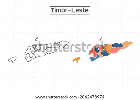 Timor-Leste map city vector divided by colorful outline simplicity style. Have 2 versions, black thin line version and colorful version. Both map were on the white background. Stock fotó ©