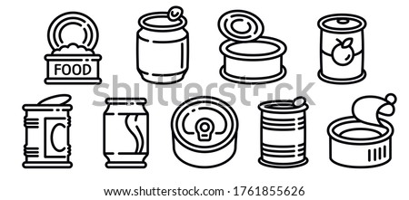 Tin can icons set. Outline set of tin can vector icons for web design isolated on white background Stock photo ©