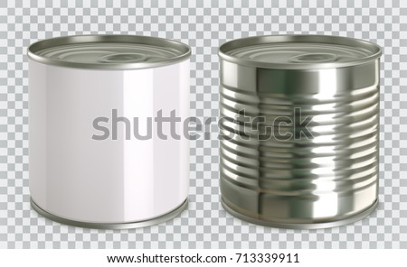 Tin can mock up. 3d realistic vector icon set