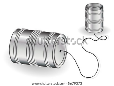 Tin can phone isolated over white background