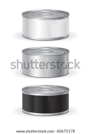 Tin can with white and black label for new graphic design
