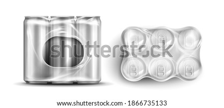 Tin cans in plastic wrap, six soda or beer metal jars front and top view. cylinder aluminium canisters in transparent pack, cold drink bottles isolated on white background, Realistic 3d vector mockup