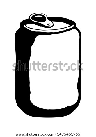 Tincan pepsi bank cup lid cover on light backdrop. Outline black ink hand drawn steel bar tasty coca pot logo pictogram design in art doodle retro style pen on paper text space on label. Close up view
