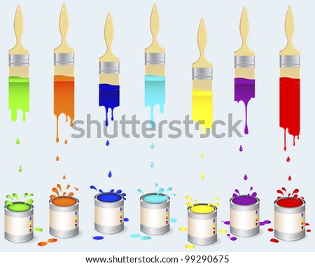 Tins of colour paint and flat brushes leave a multi-colored vertical trail with splash and drops. Vector illustration.