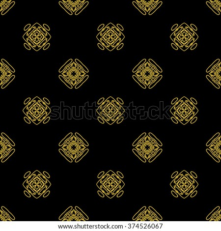 Tints of Black and Gold Seamless pattern, Abstract Seamless pattern, Vector Seamless pattern. Repeating geometric, Seamless floral pattern