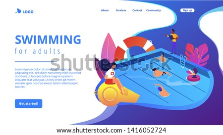 Tiny adult people swimming in the pool, coach and lifeguard. Swimming and lifesaving classes, swimming for adults, open water classes concept. Website homepage landing web page template.
