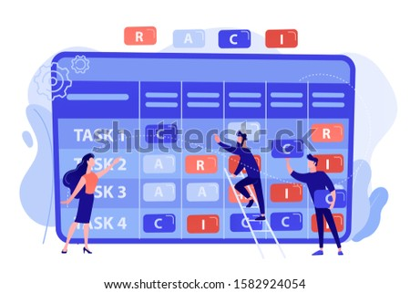 Tiny business people at responsibility chart with tasks. RACI matrix, responsibility assignment matrix, linear responsibility chart concept. Pinkish coral bluevector isolated illustration