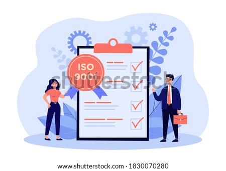 Tiny business people meeting quality control standards and getting certificate. Flat vector illustration for certification, quality management, industry concept
