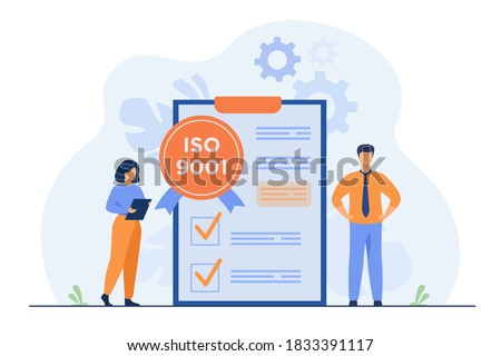 Tiny business people passed standard quality control isolated flat vector illustration. Cartoon document standardization industry. ISO system and international certification concept