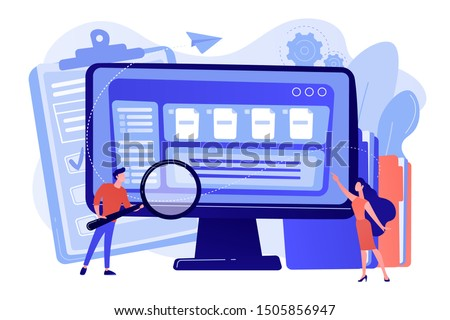 Tiny business people with magnifier work with document management on computer. Document management soft, document flow app, compound docs concept. Bright vibrant violet vector isolated illustration