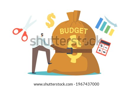 Tiny Businessman Character Tight Huge Budget Sack with Belt. Businessman in Economy Crisis Situation Trying to Reduce Money Spending. Investment Decrease, Sale Drop. Cartoon People Vector Illustration Stock photo ©