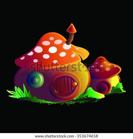 tiny cartoon mushroom houses