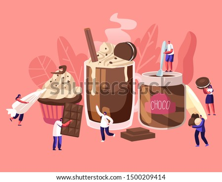 Tiny Characters among Huge Chocolate Dessert Dishes. Pastry Choco Paste Cupcake Candy Cane Cocktail. People Eating Sweet Food Concept. Cartoon Flat Vector Illustration