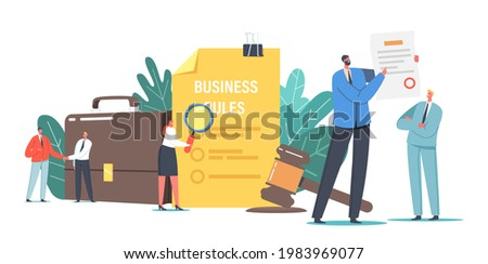 Tiny Characters Read Corporate Compliance Rules, Culture and Policies. Representation of Business Laws, Regulations and Standards, Ethical Practices, Terms of Firm. Cartoon People Vector Illustration Stock photo ©
