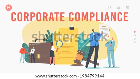 Tiny Characters Read Corporate Compliance Rules Landing Page Template. Representation of Business Laws, Regulations and Standards, Ethical Practices, Terms of Firm. Cartoon People Vector Illustration Stock photo ©