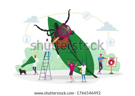 Tiny Characters Search Dangerous Insect. Mite Hid on Plant Leaf, People Spraying Insect Repellent on Skin and Dog Outdoor. Encephalitis Mite, Tick Bite Protection Concept. Cartoon Vector Illustration stock photo