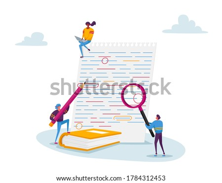 Tiny Characters with Huge Magnifying Glass and Red Pencil Edit and Correct Mistakes in Paper Test. Teacher or Student Fix Grammar and Punctuation Underlined Errors. Cartoon People Vector Illustration Stock photo ©