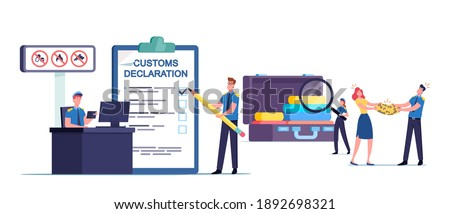 Tiny Customs Officer Characters Filling Customs Declaration and Check Passenger or Tourist Baggage Confiscate Illegal Freight and Forbidden Things, Airport Security. Cartoon People Vector Illustration Foto d'archivio ©