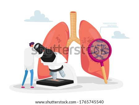 Tiny Doctor Character Watching to Microscope Learning Microbes, Checking Lungs Sputum on Pulmonology, Fibrosis Tuberculosis Pneumonia Bacteria and Germs, Cancer Diagnosis. Cartoon Vector Illustration Stock photo ©